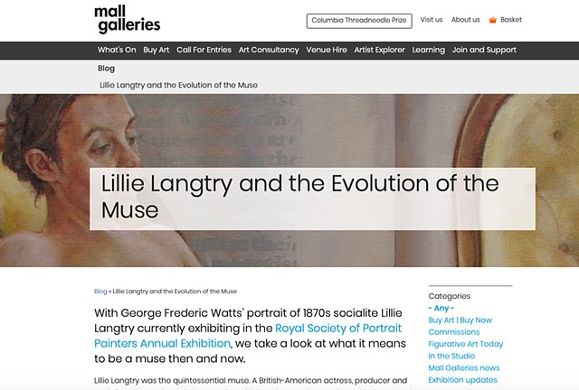 Lillie Langtry & The Evolution Of The Muse, Roisin McVeigh, Mall Galleries Blog, 17th May 2019