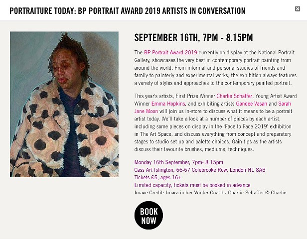 PORTRAITURE TODAY: BP PORTRAIT AWARD 2019 ARTISTS IN CONVERSATION, Cass Arts Islington, London