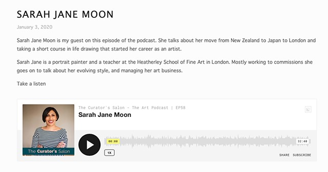 Interview With Sarah Jane Moon, The Curator's Salon Podcast, Gita Joshi, 3rd January 2020