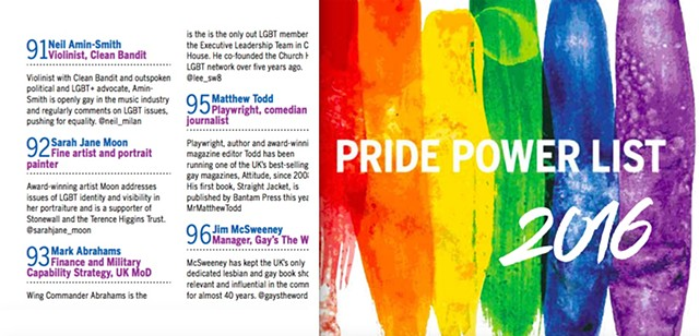 Pride Power List, OutNews, June 25th 2016