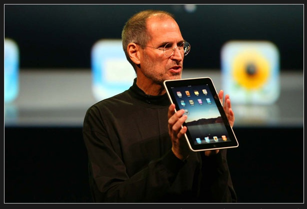 A sick Steve Jobs with an over-hyped device