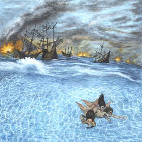 Encaustic painting of mermaids swimming away from burning ships by Jennifer Delilah