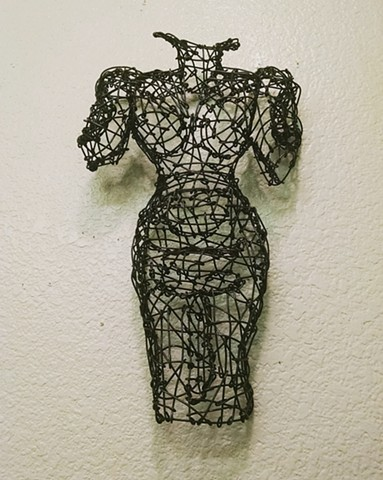 wire, sculpture, San Francisco artist, Kristine Mays, dresses