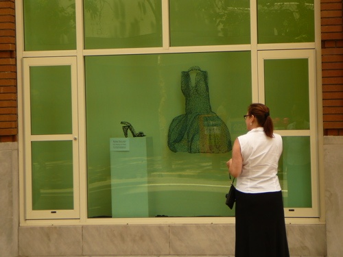 woman checking out 'bubbling with delight' on  Front Street