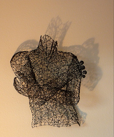 male figure, wire sculpture, Kristine Mays, art, figurative