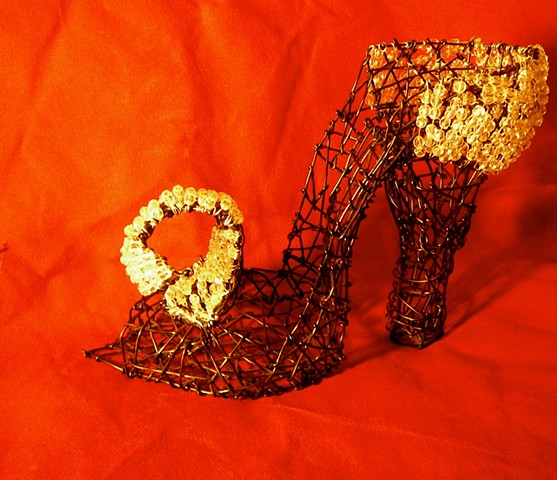 wire shoes, sculpture, wire, San Francisco artist, Kristine Mays