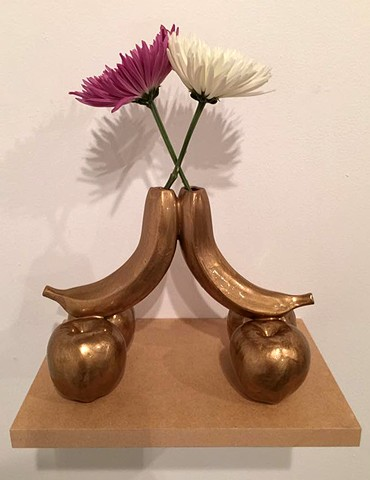 double gold banana vase