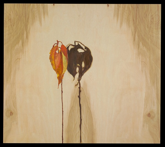 OIl on panel of dried fall leaves with shadow