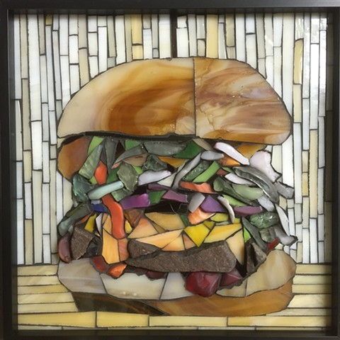 Mosaic  made with stained glass, stone and beach glass