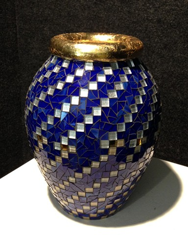 Stained Glass Vase with gold leaf rim.