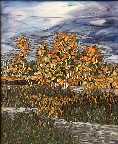 Stained Glass Mosaic, Landscape, Trees, Fall, Marsh