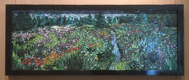 Stained Glass Mosaic, Floral, Meadow, Stream, Trees