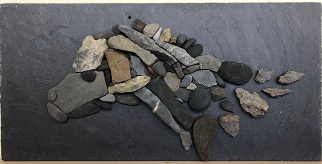 Stone and pebble mosaic on slate, created during my Irish Artist in Residency
