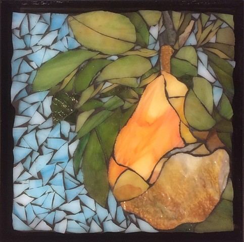 Stained Glass Mosaic, Fruit, Pear