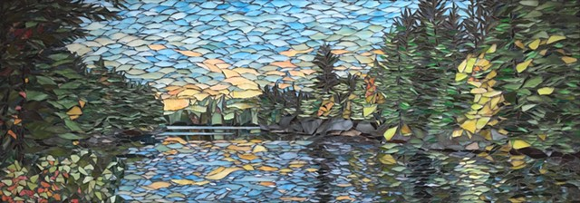 Stained Glass Mosaic, Landscape, Water, Trees