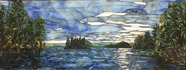 Stained Glass Mosaic, Landscape, Lake. Sunset