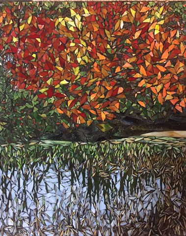 Stained Glass Mosaic, Landscape, Trees, Fall, Marsh, Cattails