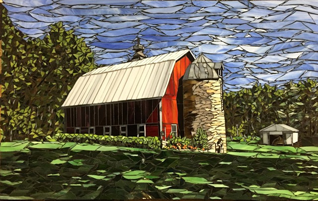 Stained Glass Mosaic, Landscape, Barn, Farm