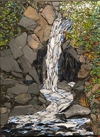 Stained Glass and Stone mosaic of a favorite waterfall on the North Shore of Minnesota
