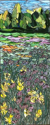 Stained Glass Mosaic, Floral, Meadow, Trees