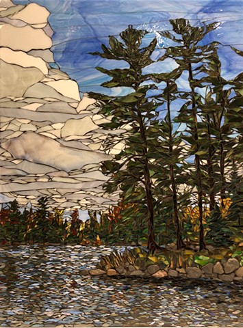 Stained Glass Mosaic featuring a North shore image of these majestic White Pines