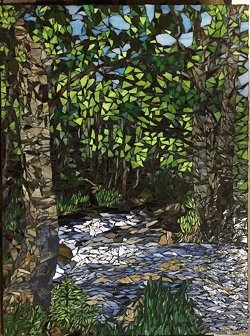 Stained Glass Mosaic, Landscape, Trees, Rocks, Creek