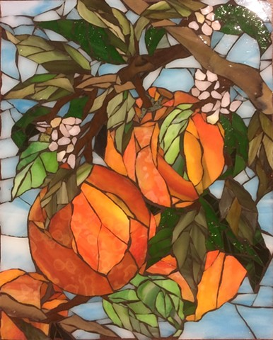 Stained Glass Mosaic, Fruit, Orange