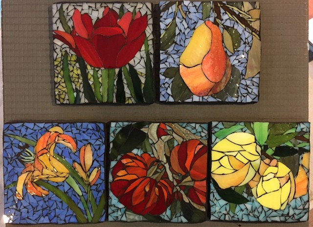 Stained Glass Mosaic, Fruit, Flowers, Smallworks