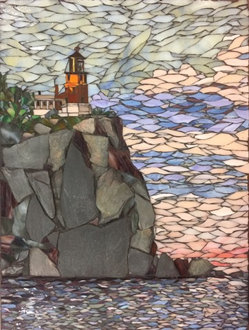 Stained Glass Mosaic, Slate, Lake, rees, Landscape
