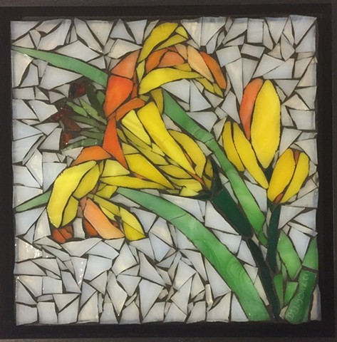 Stained Glass Mosaic, Floral, Lily