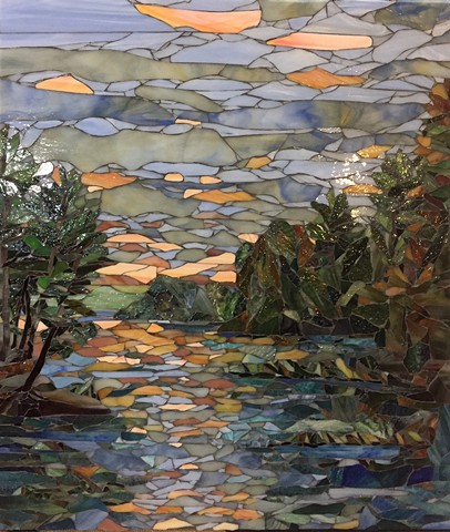 Stained Glass Mosaic, Landscape, Lake. Sunrise