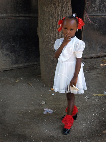 Girl with red socks