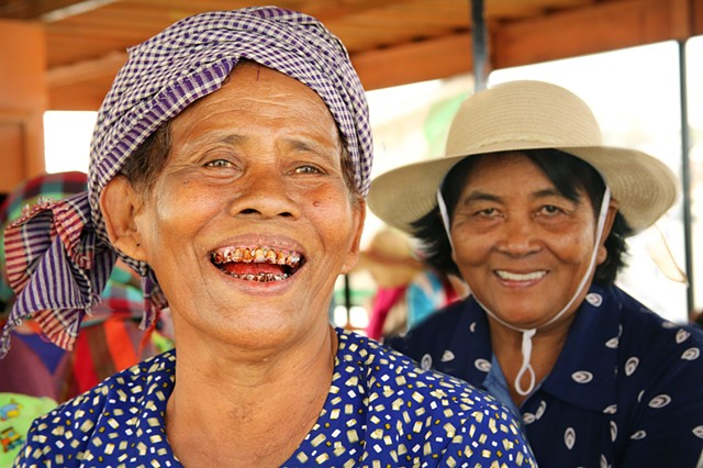 Woman with betel-stained teeth