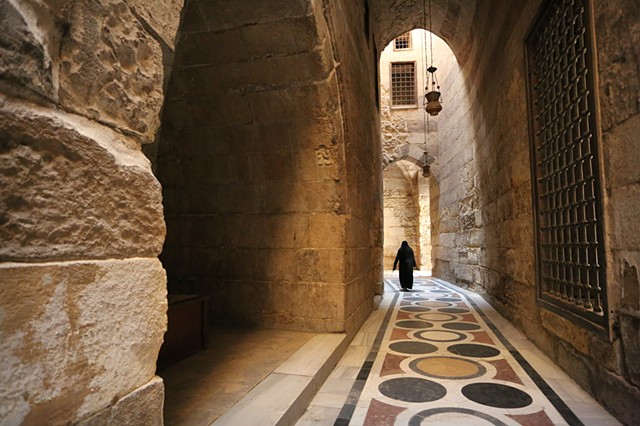 Walking down an ancient corridor