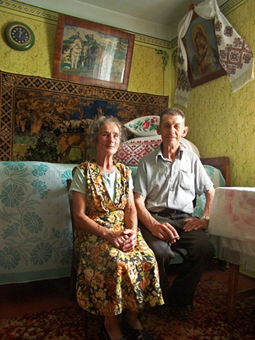 Maria and Mykola in their home