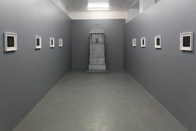 """The intolerable other that I crave to destroy so as to better possess it alive"" (installation view of 'Frame of Distinction, Measure of Assimilation' series, and 'Artemisia's Womb')"