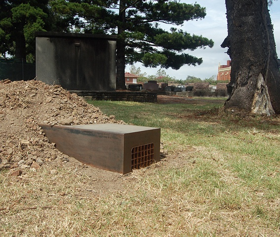 Exhibited in %Hidden: a Rookwood Sculpture Walk%, Rookwood Cemetery, Sydney, 2011