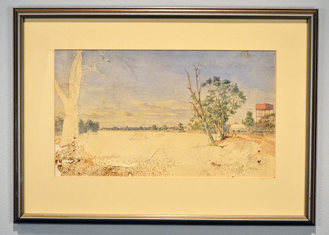 Frederick Miller Needham, Unfinished watercolour - river scene with water tower and foundry c.1880s