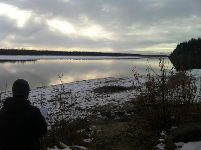 Sketching, Chena River, Alaska