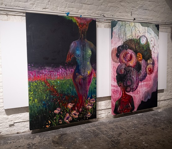 'I am the Destroying Angel' and 'I Carry a Growing Burden' (Installation view)