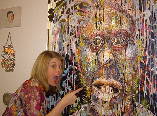 Amy with Mirror Monster painting