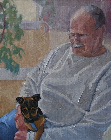 pet portrait, figure in an interior, figure portrait, oil painting, custom painting, commission