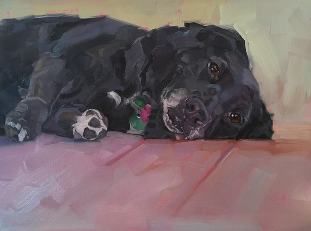 Dog art, dog, black dog, black lab, oil painting, fine art, commission, pet portrait, gift, Patti Vincent art
