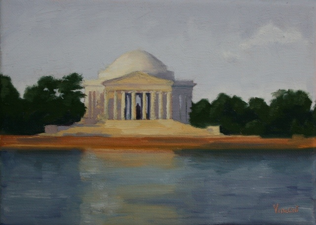 Jefferson Memorial, oil painting, landscape