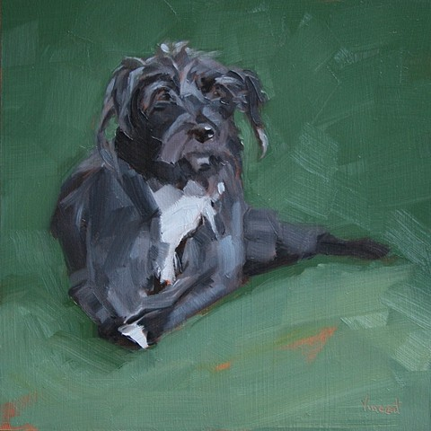 dog, painting, oil painting. grass