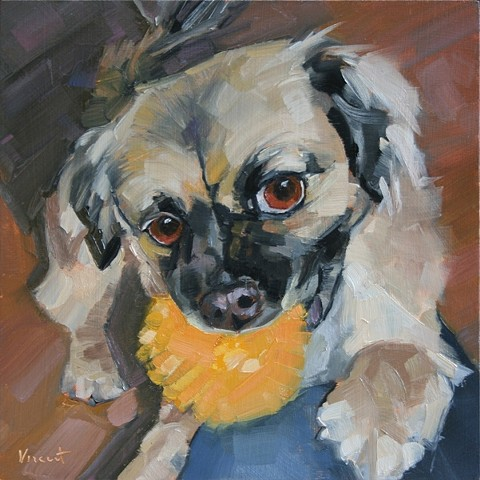 pet portrait commission, dog art, dog painting, gimme some