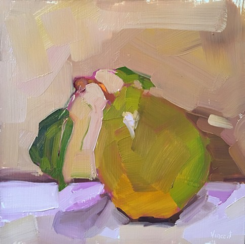 Fruit art, pear art, oil painting, pear, Patti Vincent, Alla prima