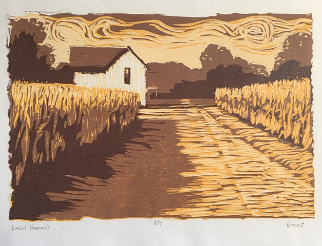 rural ohio, farmland, cornfields, relief printmaking, woodcut, reduction woodcut, farmhouse