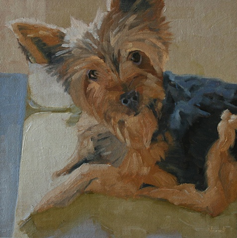 dog painting, commission, linen, oil painting, patti vincent, pet portrait