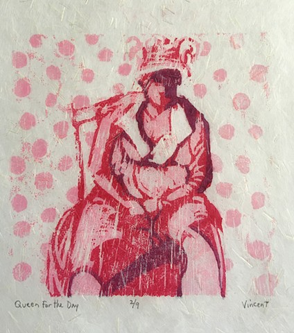 queen for the day, queen, good to be queen, reduction woodcut print, woodcut, woodcut print, printmaking, printmaker,